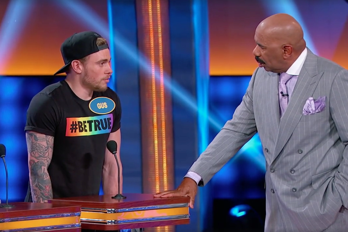 Gus Kenworthy shares some intimate thoughts and chuckles with Steve Harvey on Family Feud.