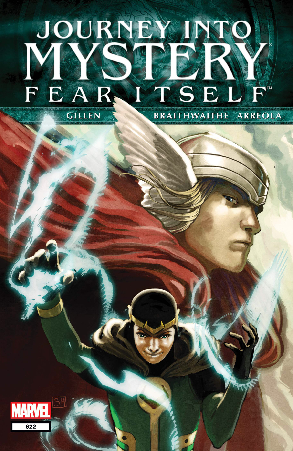 A young Loki works glowing magic shapes as a concerned adult Thor looks on on the cover of Journey Into Mystery: Fear Itself, Marvel Comics (2012).