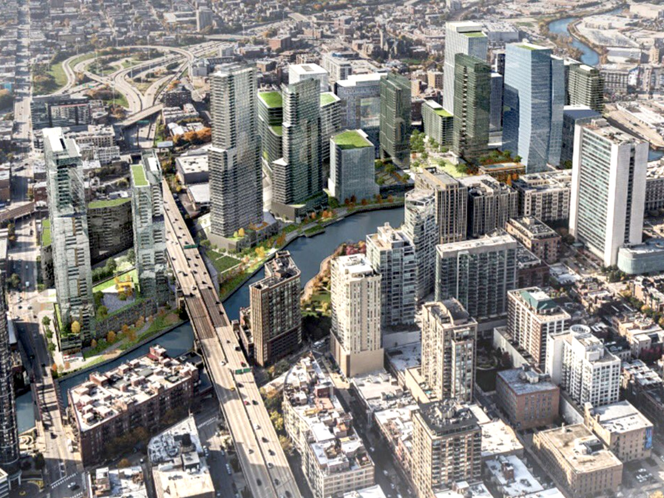 A rendering of the completed River District megaproject.