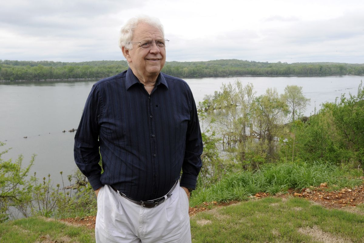 """This April 14, 2015 file photo shows Jimmy Johnson, sound engineer for the Percy Sledge's hit """"When a Man Loves a Woman,"""" outside his Tennessee River home in Sheffield, Alabama."""