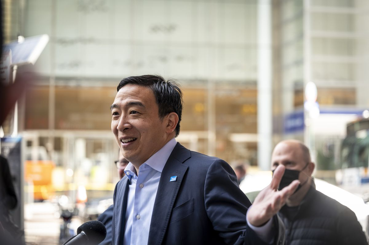Mayoral hopeful Andrew Yang received an endorsement from Jonathan and Andrew Schnipper, owners of the Schnipper's restaurant chain, outside of their 41st Street location, Friday, May 7, 2021.