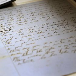 A document written by Abraham Lincoln is on display at the Independence Through History Museum in the Grand America in Salt Lake City on Friday, July 5, 2013. Written in his own hand the document makes a legal argument against the practice of slavery in America.