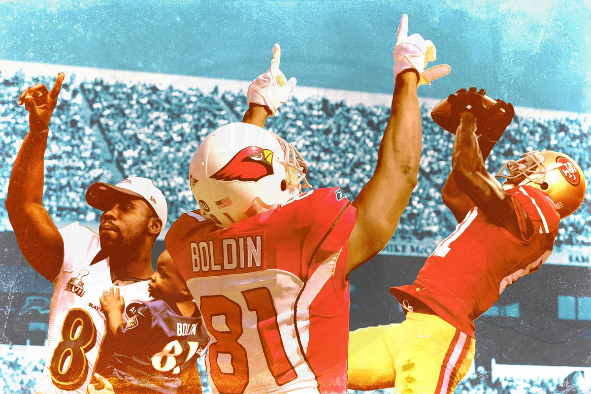 Anquan Boldin with his hands pointed in the air