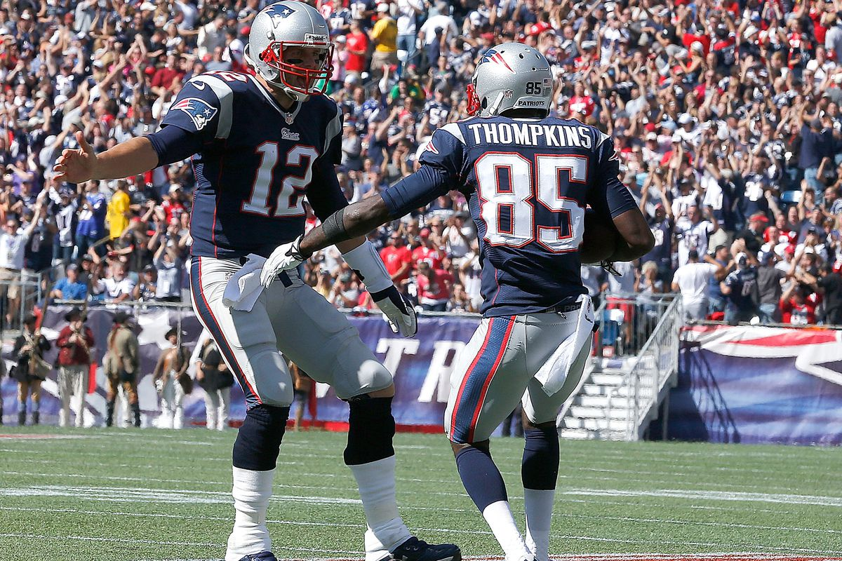 Brady and Thompkins go in for the post-TD man-hug