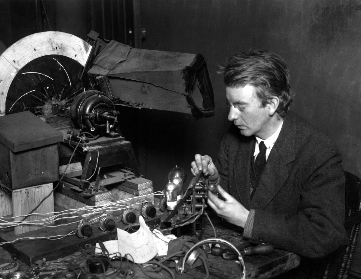 John Logie Baird with his TV.