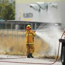 Salt Lake City Fire respond to a truck fire and explosion on 5600 West and 1200 South in Salt Lake City Wednesday, Sept. 30, 2015.