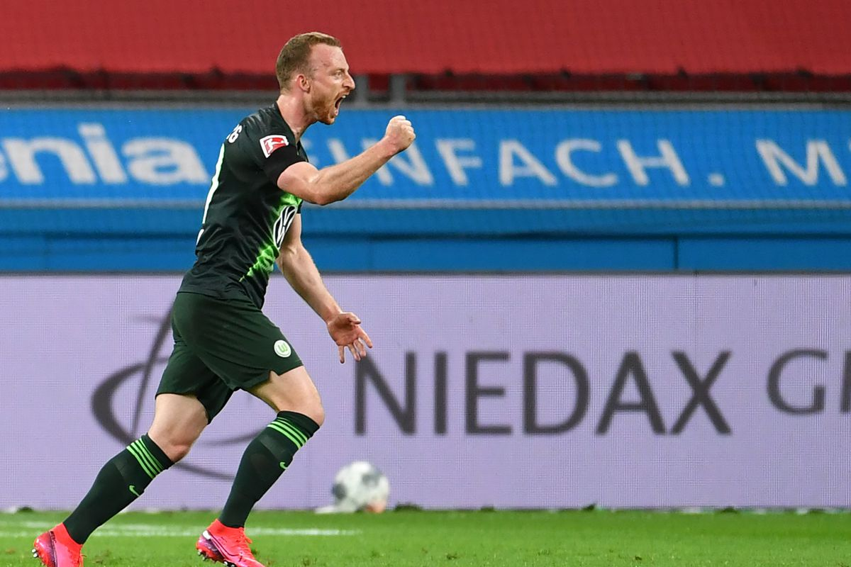 Maximilian Arnold of Wolfsburg celebrates after scoring his sides second goal during the Bundesliga match between Bayer 04 Leverkusen and VfL Wolfsburg at BayArena on May 26, 2020 in Leverkusen, Germany.
