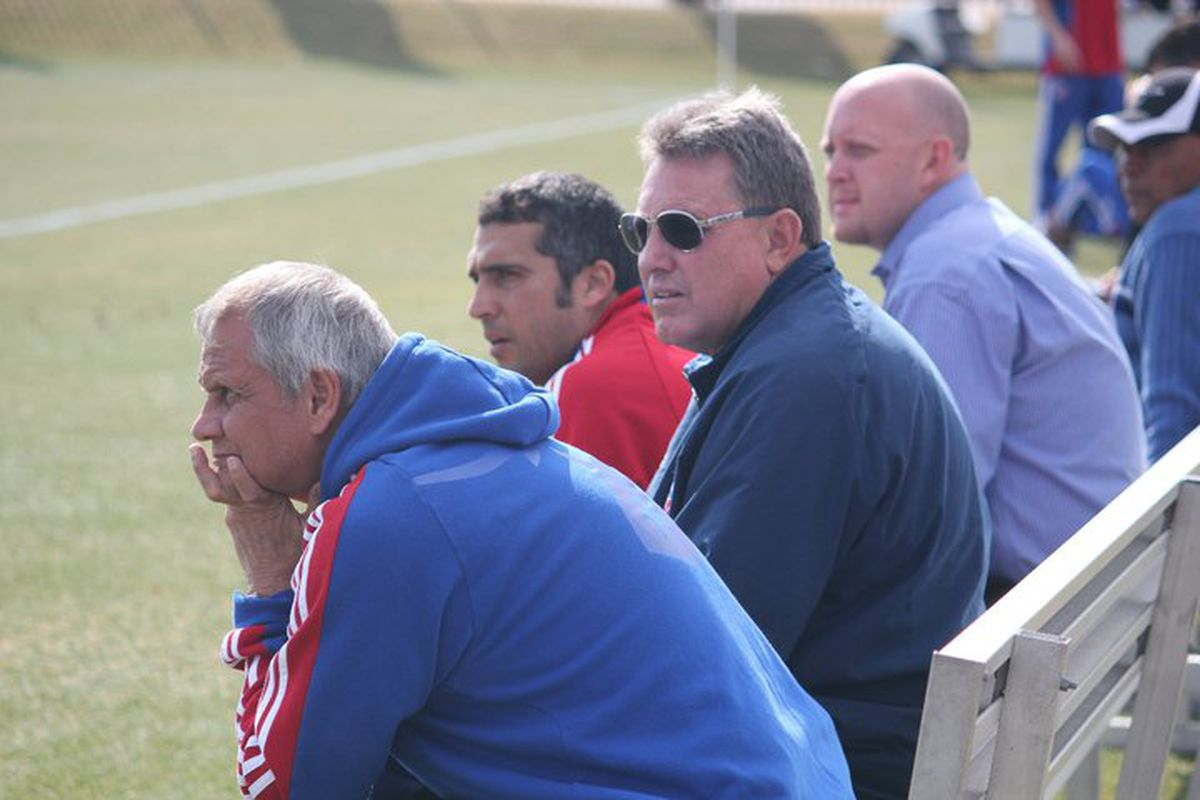 Schellas Hyndman scouts the club during Tuesday's scrimmage with Houston Baptist. (Photo via FC Dallas)