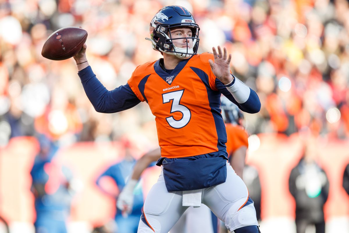 Quarterback Drew Lock #3 of the Denver Broncos throws a pass against the Oakland Raiders during the first quarter at Empower Field at Mile High on December 29, 2019 in Denver, Colorado. The Broncos defeated the Raiders 16-15.
