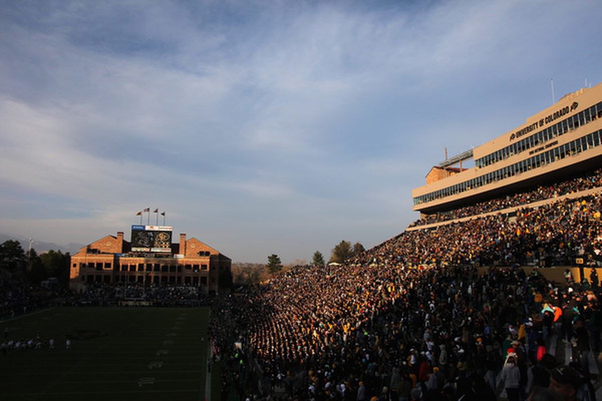 BOULDER CO - NOVEMBER 20:  A general view of the stadium as the Colorado Buffaloes face the Kansas State Wildcats at Folsom Field on November 20 2010 in Boulder Colorado. Colorado defeated Kansas State 44-36.  (Photo by Doug Pensinger/Getty Images)