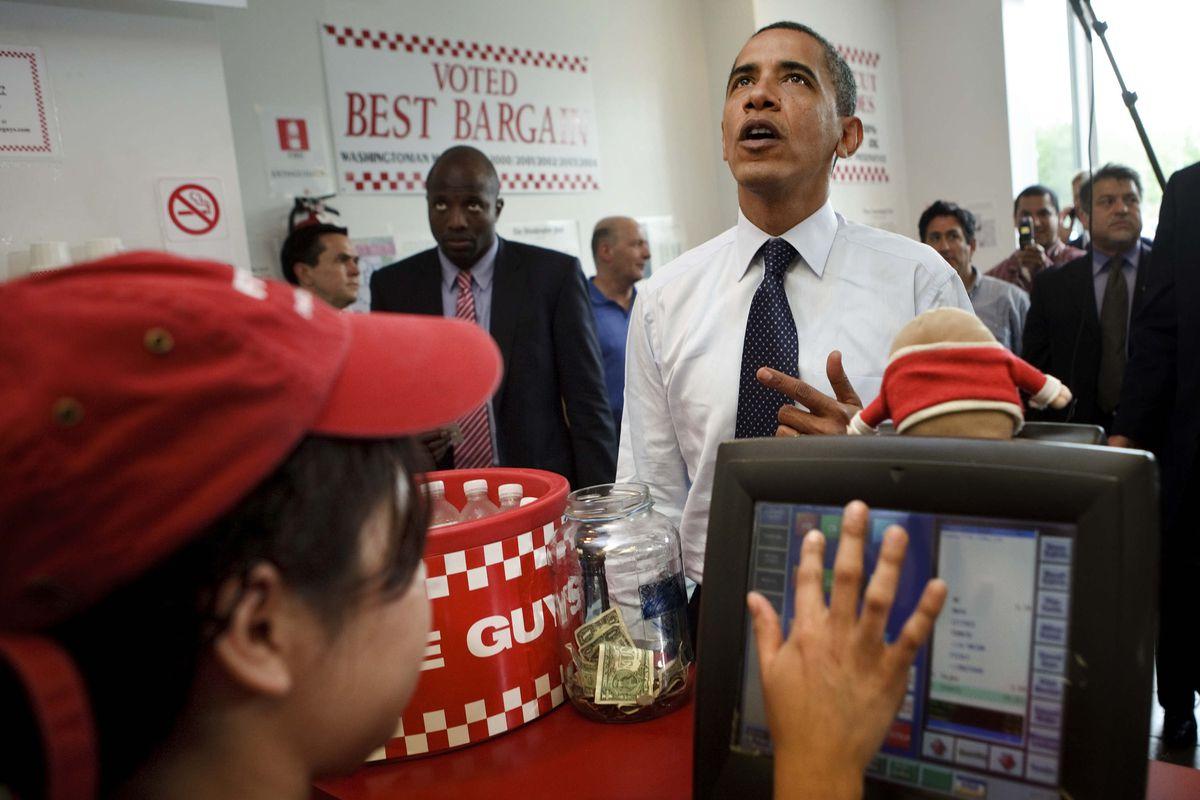 President Obama Visits Local Burger Restaurant