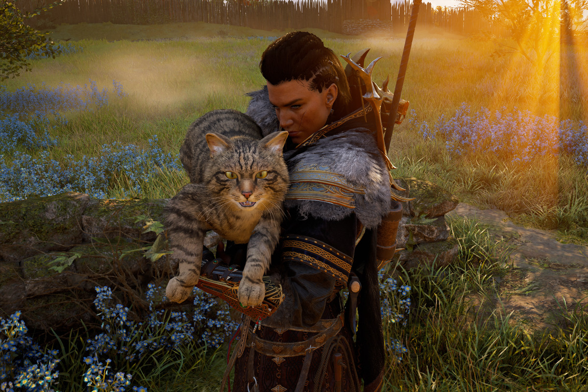 Female Eivor holding a large cat, maybe a Norwegian forest cat