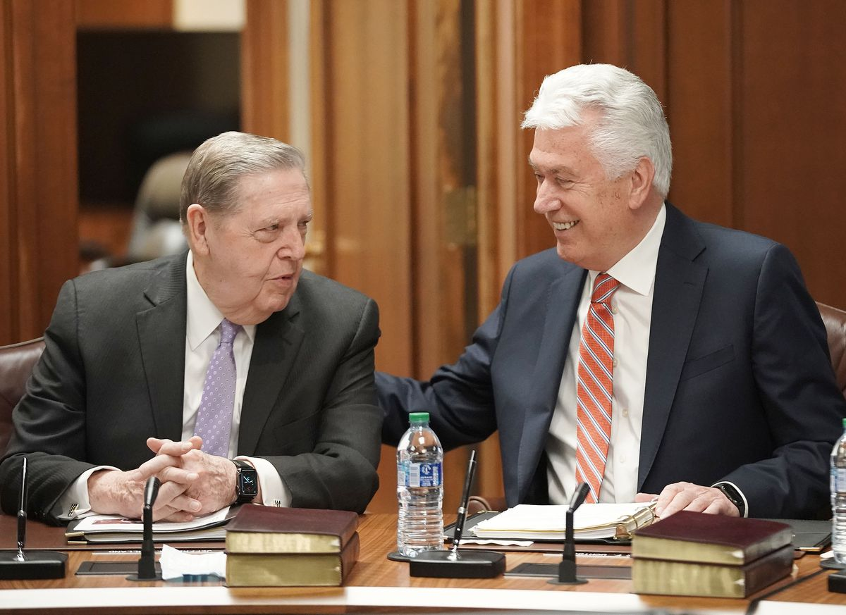 Elder Jeffrey R. Holland and Elder Dieter F. Uchtdorf chat prior to The Quorum of the Twelve Apostles of The Church of Jesus Christ of Latter-day Saints weekly meeting at the Church Administration Building in Salt Lake City on Tuesday, May 11, 2021.