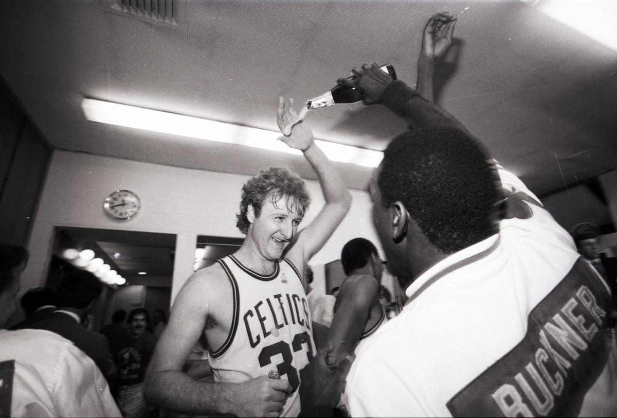 Celtics Celebrate 1984 Celtics NBA Championship In Locker Room