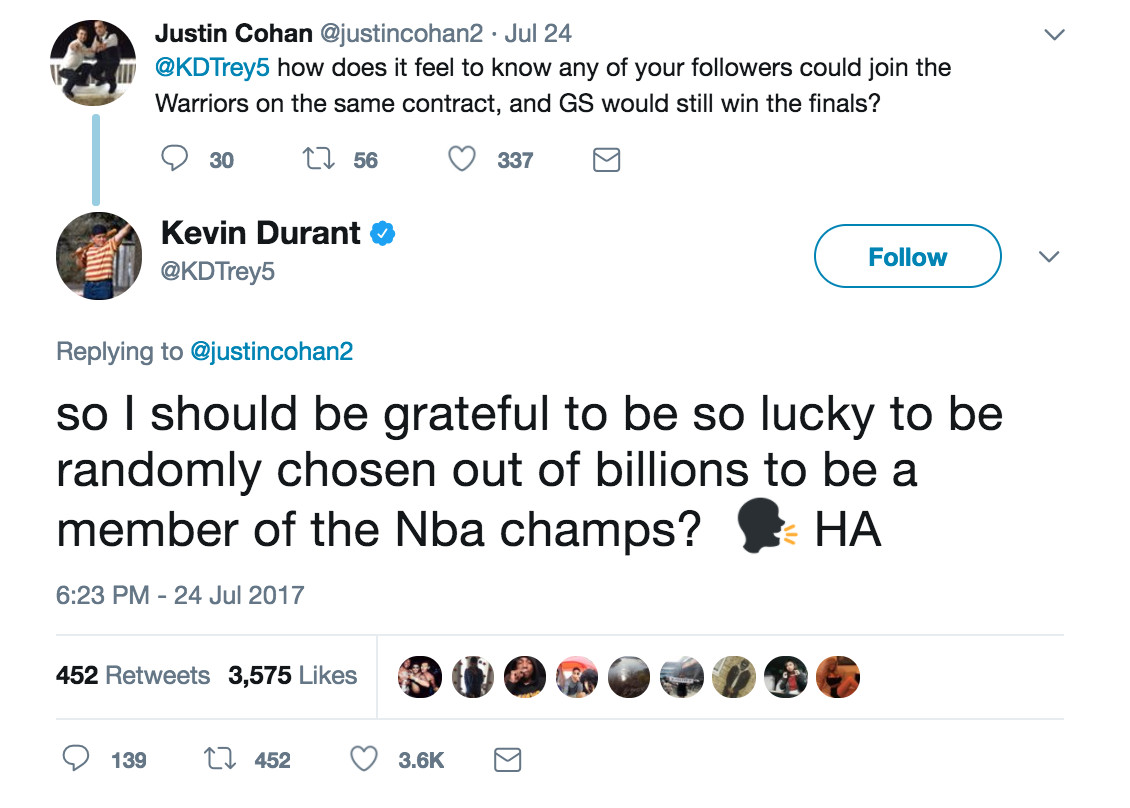 Kevin Durant is the NBA's king of the Twitter clap-back