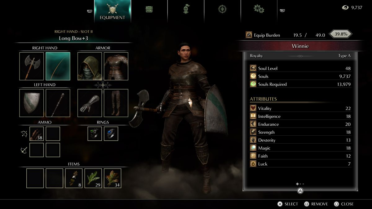 Un écran de menu montrant le personnage du joueur dans Demon's Souls (PS5)