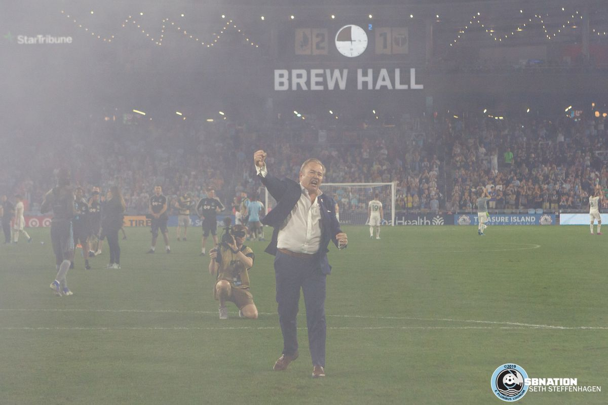August 7, 2019 - Saint Paul, Minnesota, United States - Minnesota United head coach Adrian Heath acknowledges the supporters after the 2-1 victory over the Portland Timbers in the US Open Cup semifinal match at Allianz Field.