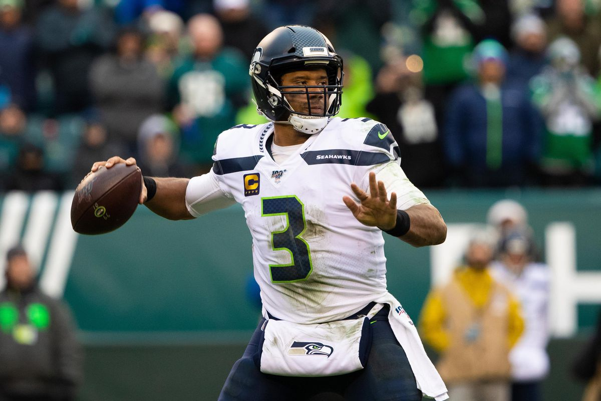 Seattle Seahawks quarterback Russell Wilson in action against the Philadelphia Eagles during the third quarter at Lincoln Financial Field.