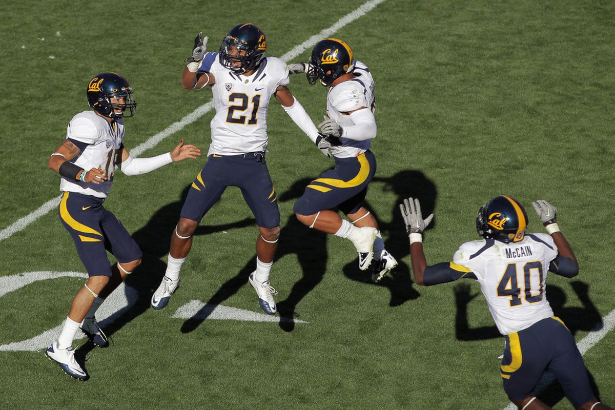 It has been more than two months since Cal has done this -- celebrate a road win.