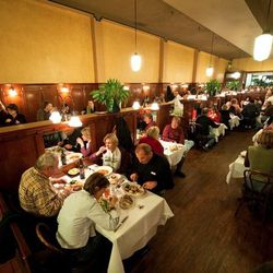 It's not only San Francisco's oldest restaurant, but also, allegedly, California's. Art Deco brass and milk-glass light fixtures have been hanging unchanged from the tall ceiling since 1967, with dark wood paneling and mirrors covering the walls. Starched