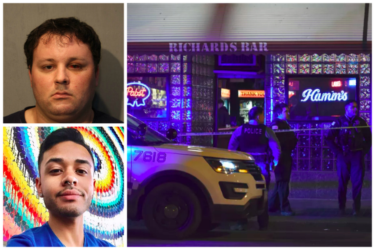 Thomas Tansey (top left) faces a charge of first-degree murder in the fatal stabbing of Kenneth Paterimos (bottom left) on Feb. 21 outside Richard's Bar in West Town.