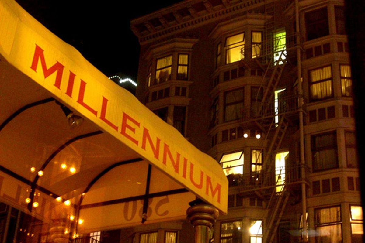 Night signage at Millennium.