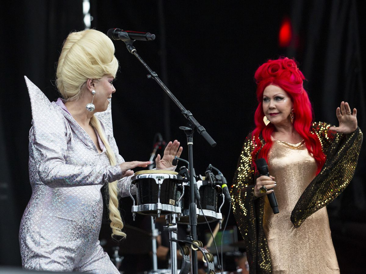 Cindy Wilson (left) and Kate Pierson, of The B-52s, perform on day three of Riot Fest in Douglas Park, Sunday night, Sept. 15, 2019.
