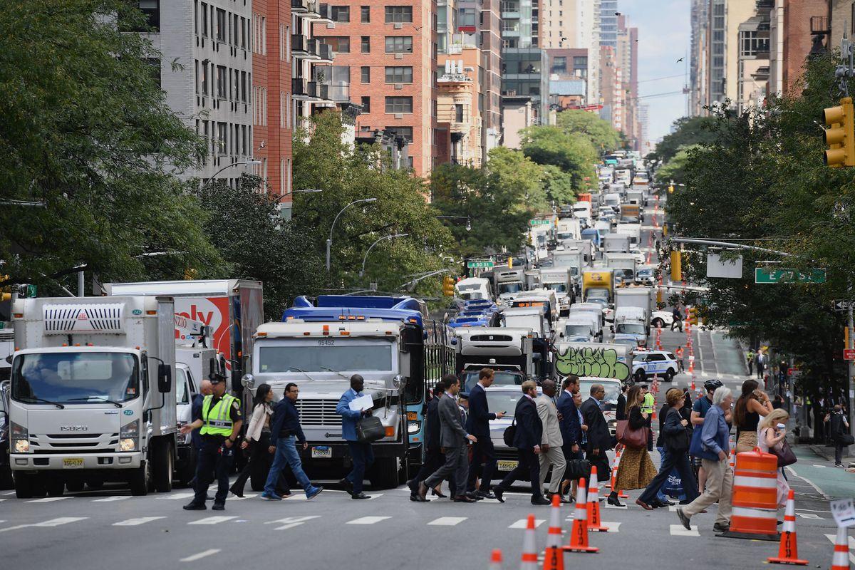 Traffic on a city street.