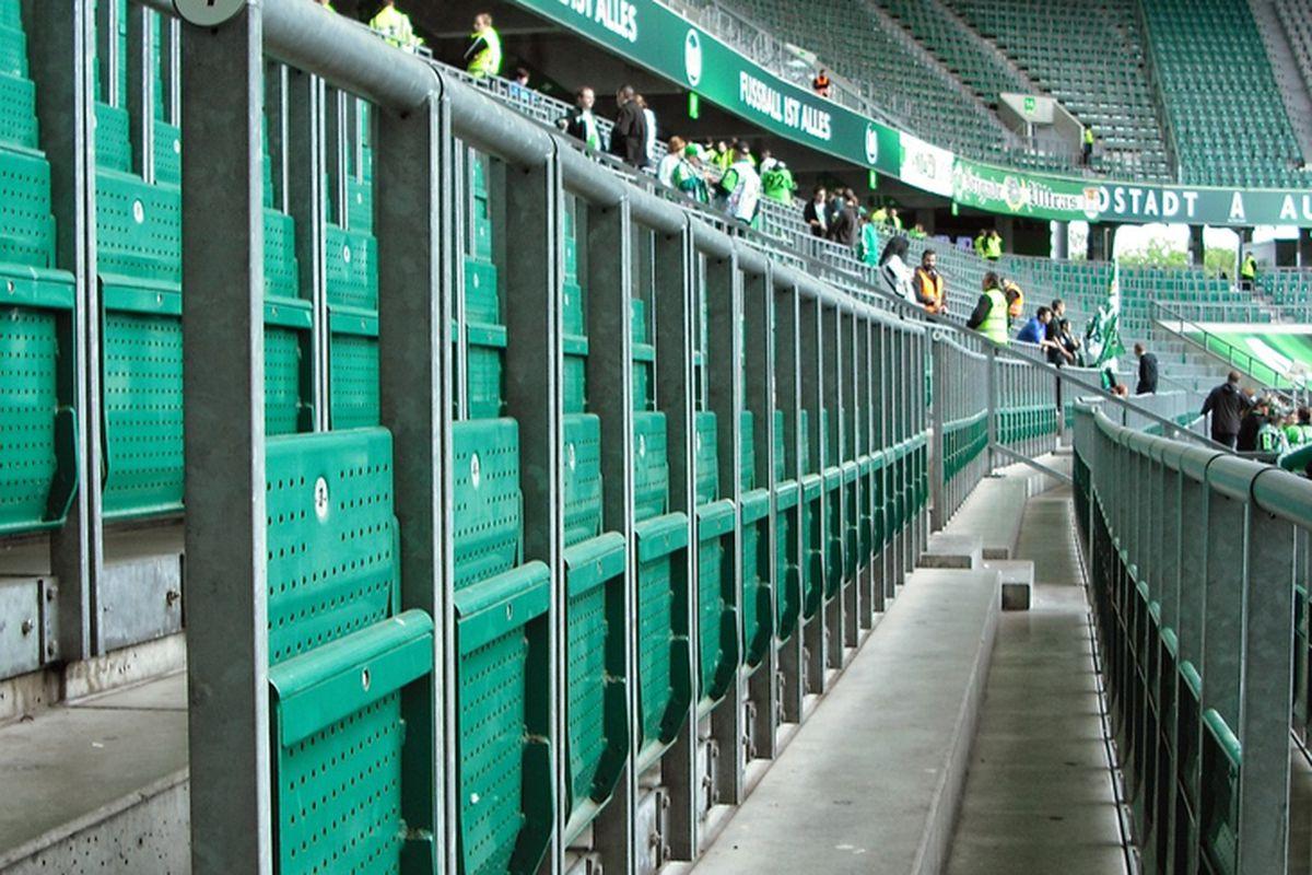 Rail Seating aka 'Safe Standing' at Wolfsburg