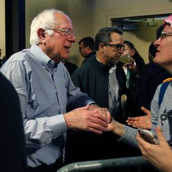 """Vermont Sen. Bernie Sanders greets supporters after speaking at the """"Come Together and Fight Back"""" tour at the Rail Event Center in Salt Lake City on Friday, April 21, 2017. The tour is part of the process of creating a Democratic Party that is strong and active in all 50 states, and a party that focuses on grass-roots activism and the needs of working families."""