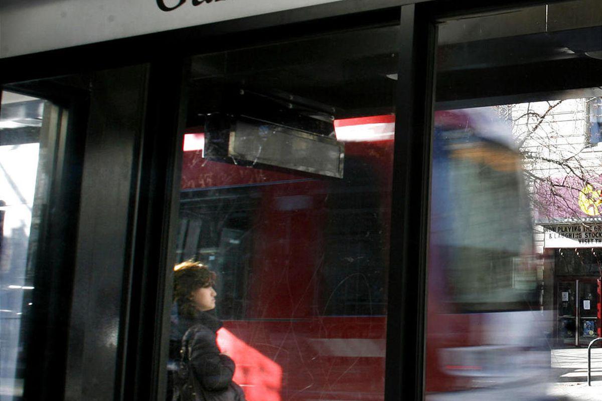 TRAX travels through downtown Salt Lake City on Friday, Dec. 23, 2011.