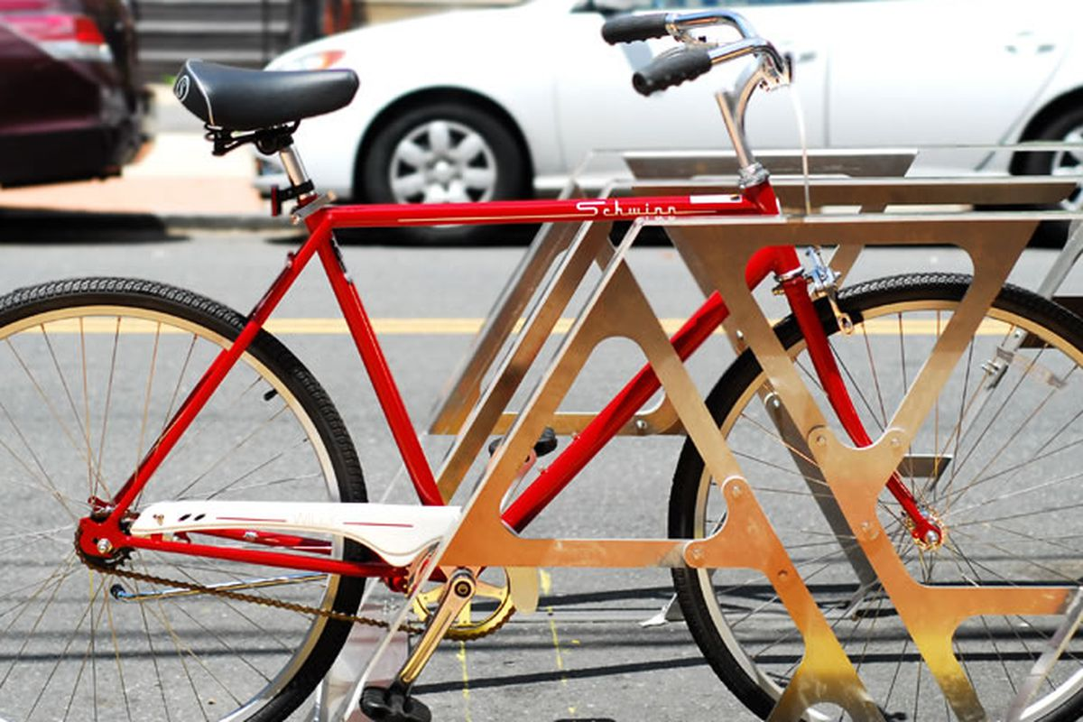 This nifty bike corral is headed for Shake Shack.