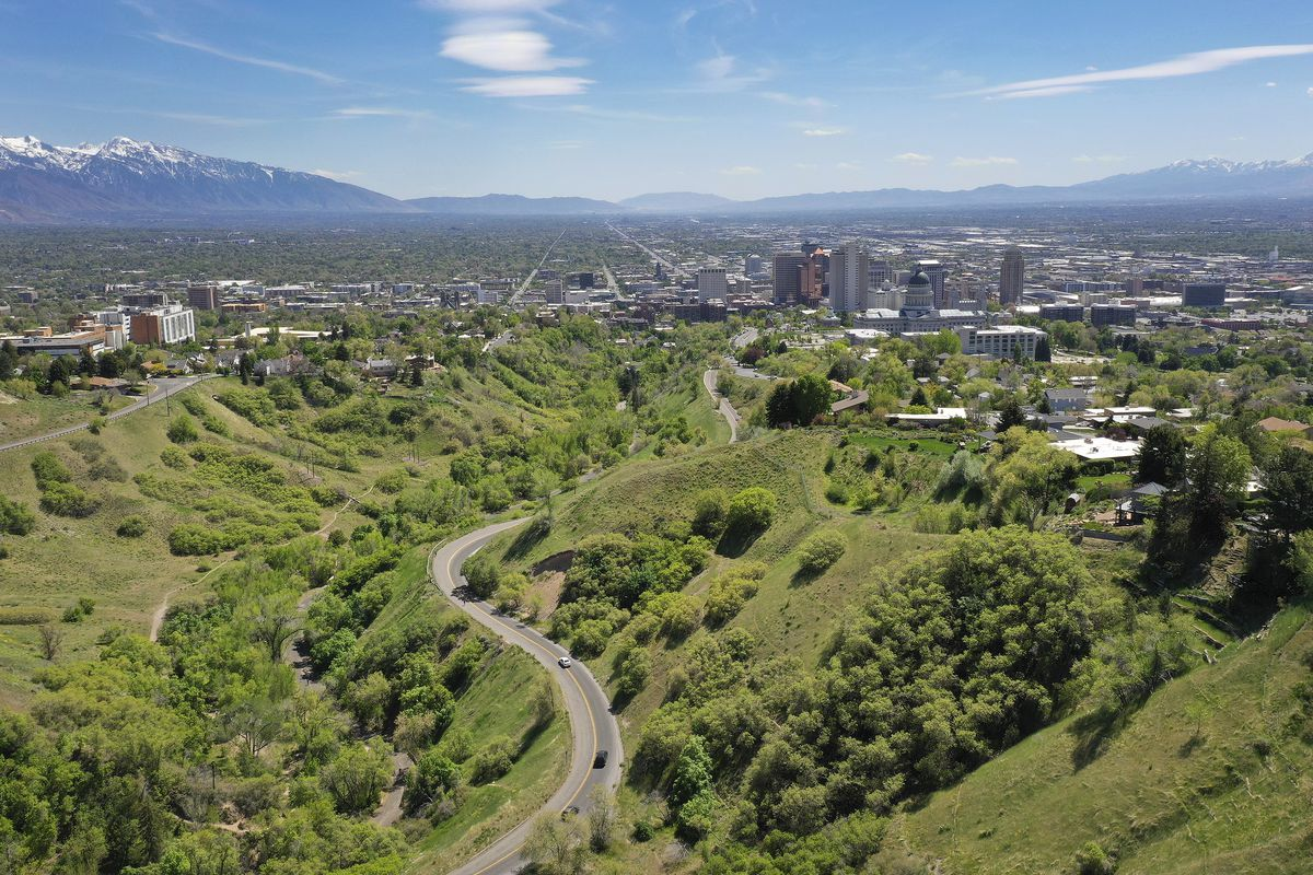 Motorists drive in City Creek Canyon in Salt Lake City on Tuesday, May 5, 2020. A new analysis showsthe coronavirus shutdown of schools and businesses dramatically reduced pollutants that form ugly haze and threaten public health.