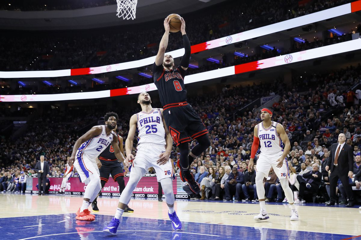 The Bulls' Zach LaVine goes up for a shot against Philadelphia 76ers' Ben Simmons (25) during a game last season.