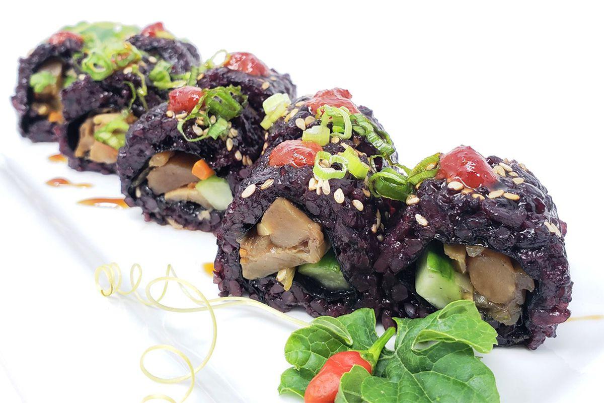 "The bulgogi roll on the ""plant-based Asian fusion fast-food"" menu at Dikon Vegan Sushi & More."