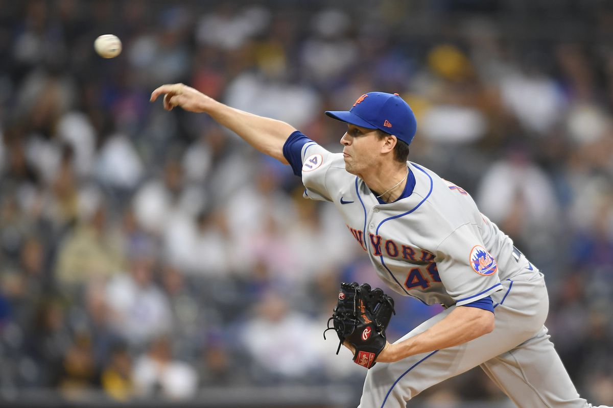 Jacob deGrom #48 of the New York Mets pitches during the first inning of a baseball game against San Diego Padres at Petco Park on June 5, 2021 in San Diego, California.