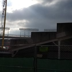 """The remaining concrete """"steps"""" on the back grandstand wall"""