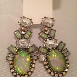 Faux-opal drop earrings, $25
