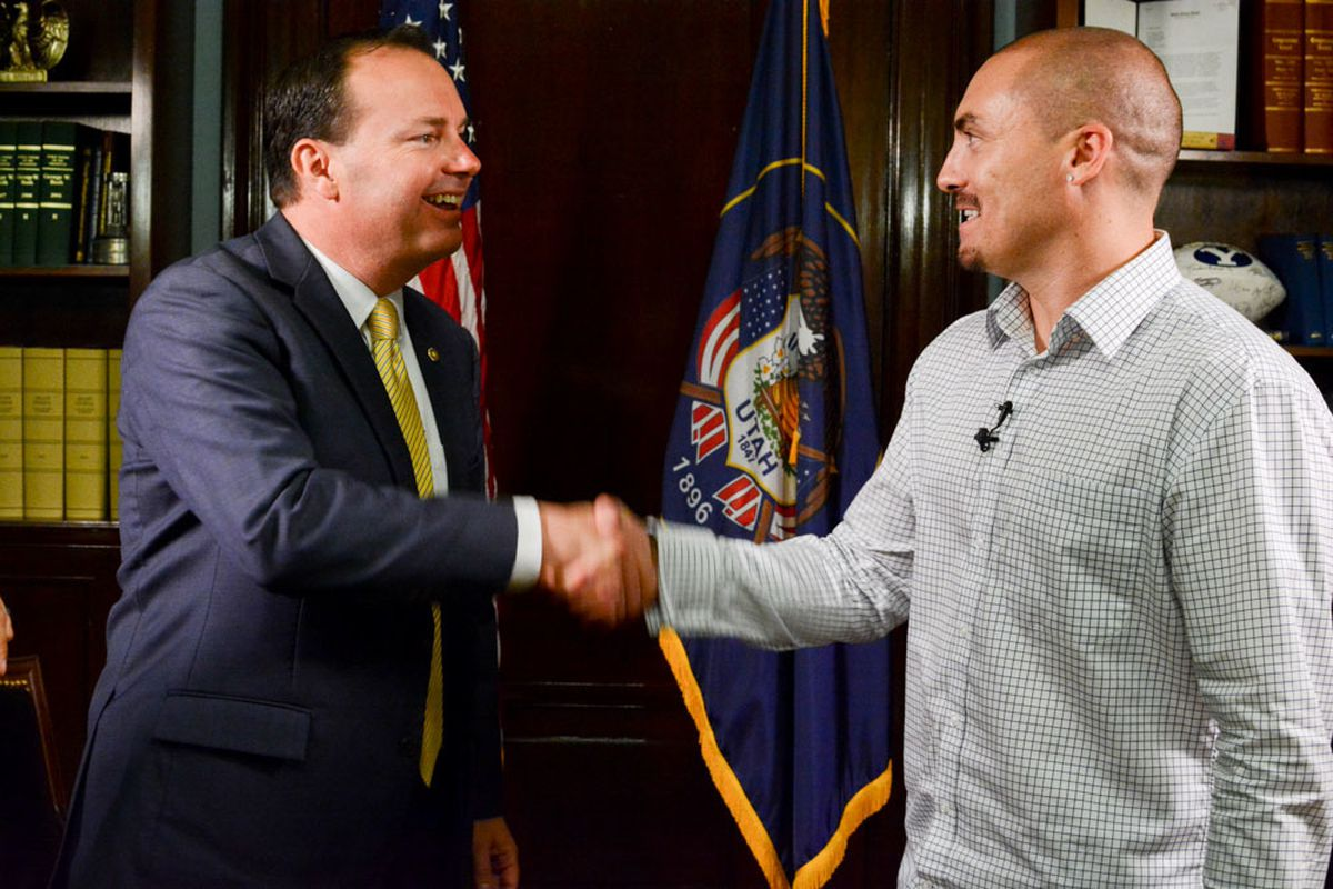 Weldon Angelos meets with Sen. Mike Lee in Lee's office on June 29, 2016. Lee had promoted Angelos's story relentlessly since being elected in 2010 and was instrumental in his early release and pushing legislative reform for mandatory minimum sentences in