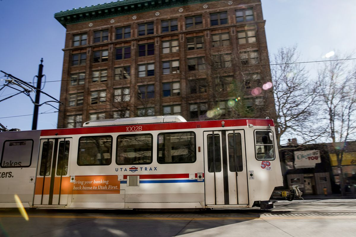 A Utah Transit Authority Trax Blue Line train moves through downtown Salt Lake City on Thursday, March 5, 2020. Blue Line trains will soon carry air quality sensors like those already installed on Green and Red line trains to capture more details about the nature of the valley's pollution struggles.