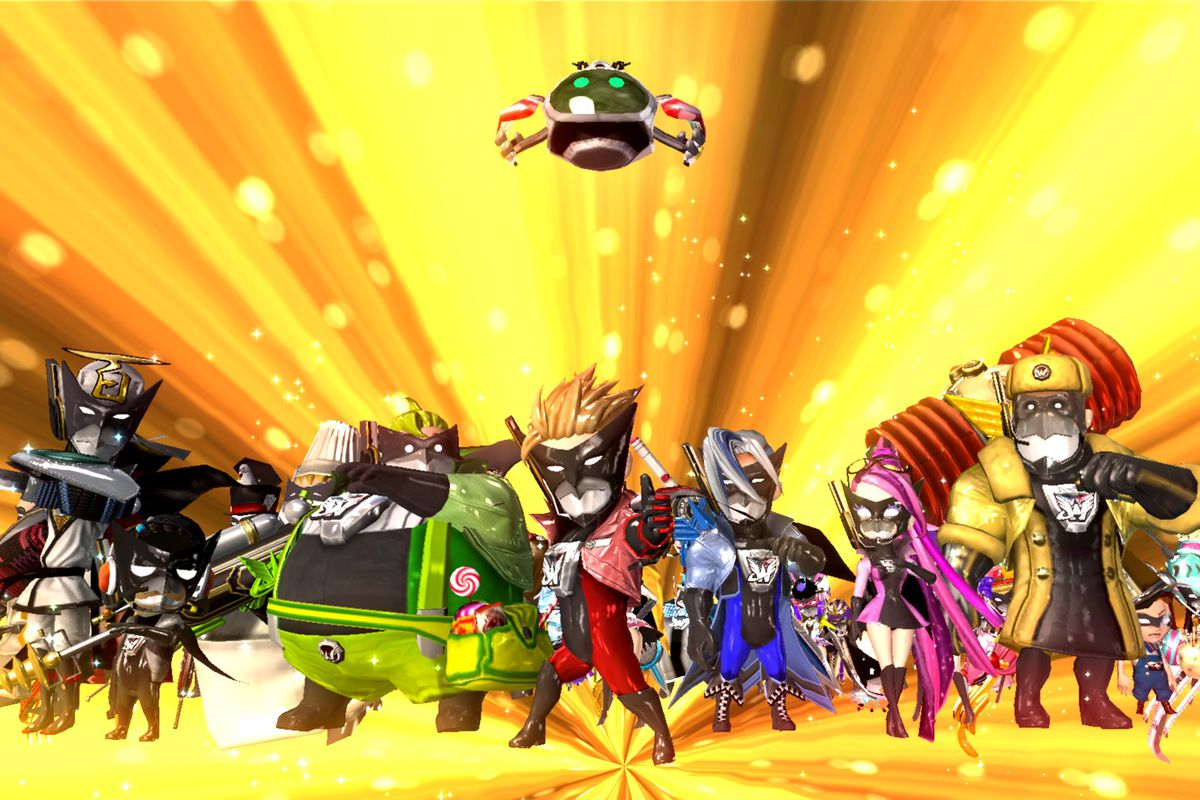 The heroes of The Wonderful 101 stand in front of a yellow light burst