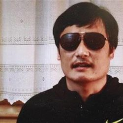 This image, made from video posted to YouTube April 27, 2012 by by overseas Chinese news site Boxun.com, shows blind legal activist Chen Guangcheng.