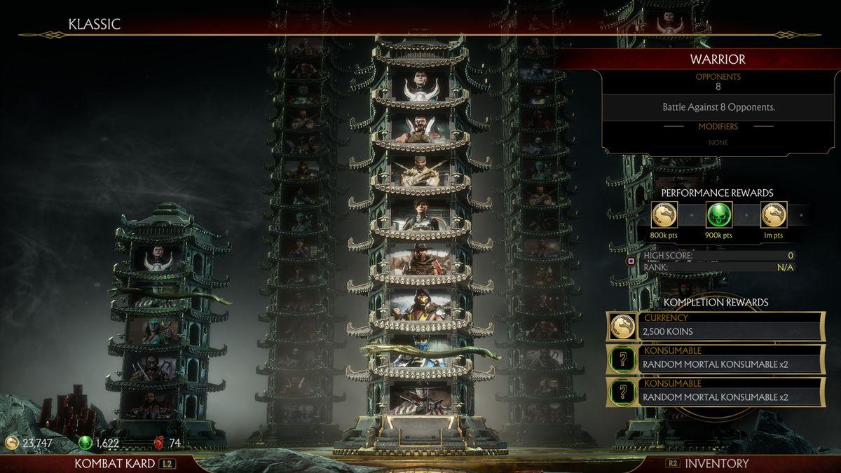 "A screenshot of the ""klassic towers"" from Mortal Kombat 11."