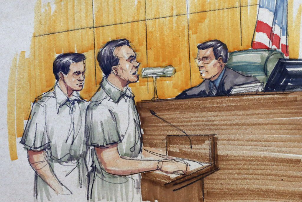 In this courtroom sketch, Pedro Flores, left, and Margarito Flores appear before U.S. District Judge Ruben Castillo in 2015. | AP