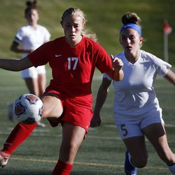 Manti's Breanne Wayman (18) and Juab's Karlie Cowman (5) compete in the 3A high school soccer semifinals at Juan Diego Hugh School in Draper on Wednesday, Oct. 21, 2020.