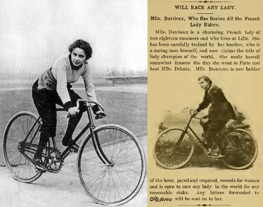 On the left, a widely reproduced image of Hélène Dutrieu, one of the few images we have of her in her cycling days. On the right, a report from the 'Referee' in 1894.