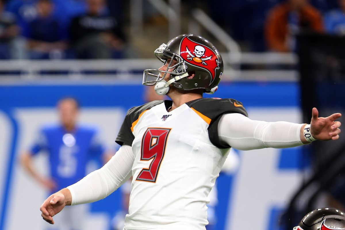Buccaneers kicker Matt Gay follows his kick for an extra point during the second half of an NFL football game against the Tampa Bay Buccaneers in Detroit, Michigan USA, on Sunday, December 15, 2019.
