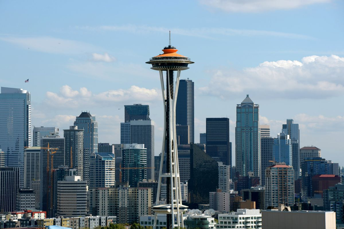 Aug 30, 2012; Seattle, WA, USA; General view of the Space Needle and the downtown Seattle skyline before the NFL game between the Oakland Raiders and Seattle Seahawks at CenturyLink Field. Mandatory Credit: Kirby Lee/Image of Sport-US PRESSWIRE