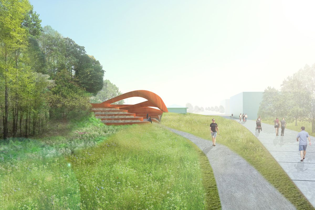 A rendering shows the orange stage peeking out of a plain of grass next to the Beltline.