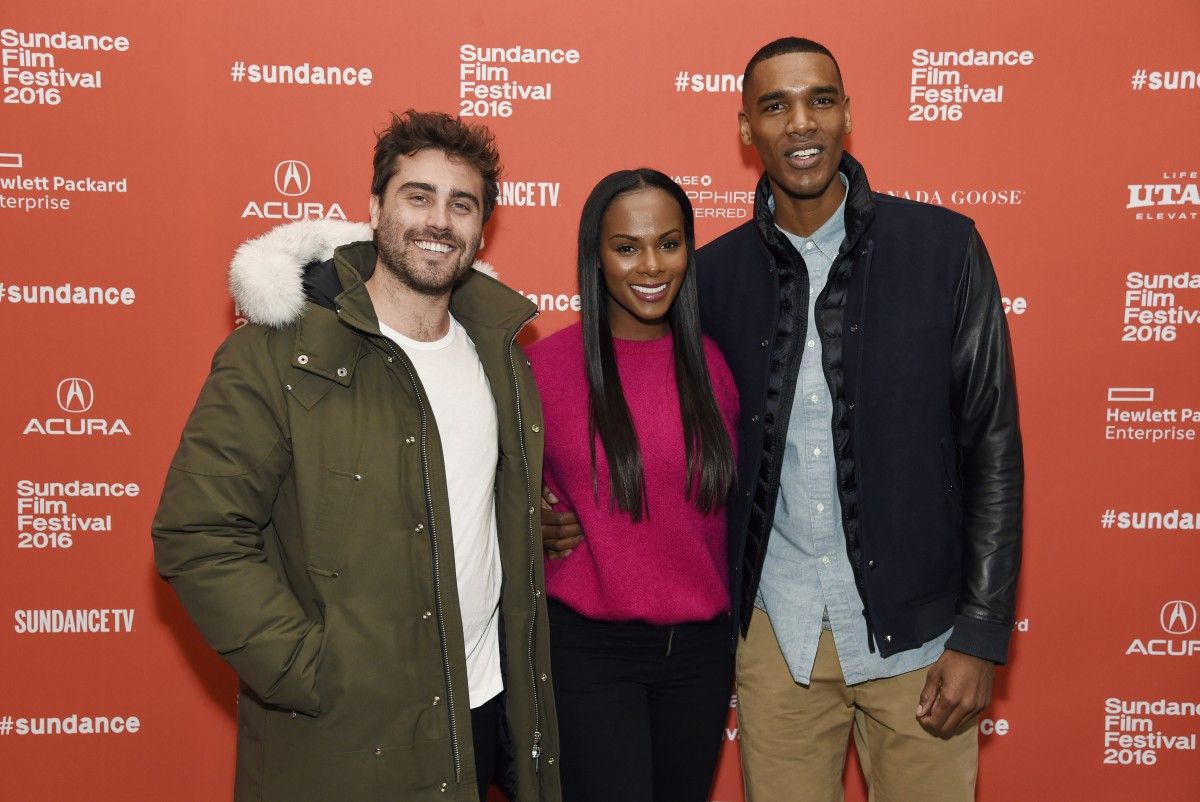 """""""Southside With You"""" writer-director Richard Tanne (left) poses Sunday with the film's stars, Tika Sumpter and Parker Sawyers, at the Sundance Film Festival in Park City, Utah. 